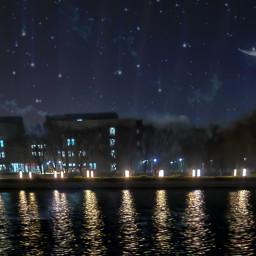freetoedit nightsky nighttime lakeview lightingthedark lighting